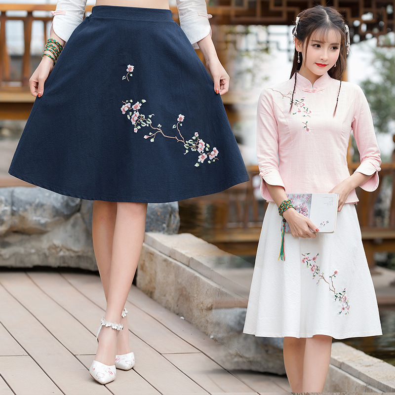 Ethnic-Style 2018 Spring And Summer New Style Ethnic Embroidery Big Skirt Skirt Sc9985