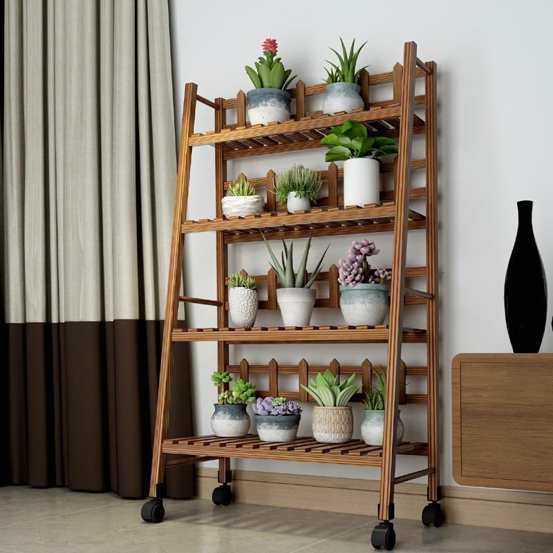 Repisa Estanteria Para Plantas Wooden Shelves For Pot Plantenstandaard Wood Plant Rack Balcony Outdoor Shelf Flower Stand