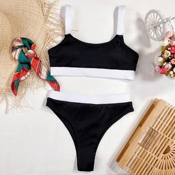 INGAGA High Waist Bikinis Swimsuits Bandeau Swimwear Women Splicing Biquini Beachwear Sports Ribbed Bathing Suits New 13
