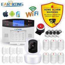 Sistema de alarme sem fio gsm pstn, detectores com fio e alarme, saída de relé inteligente, aplicativo inglês/russo/espanhol/frança/italiana