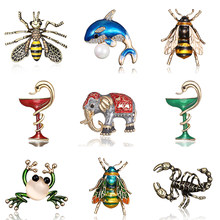 Bee Insekt Brosche Tasse Schlange Delphin Eule Elefant Frosch Skorpion Tier Emaille Pin Bohemian Fashion Strass Party Geschenk Schmuck