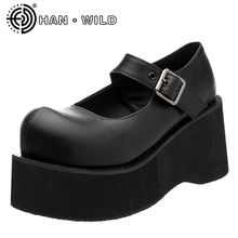 Woman Round Toe Buckle Mary Jane Shoes High Heels S