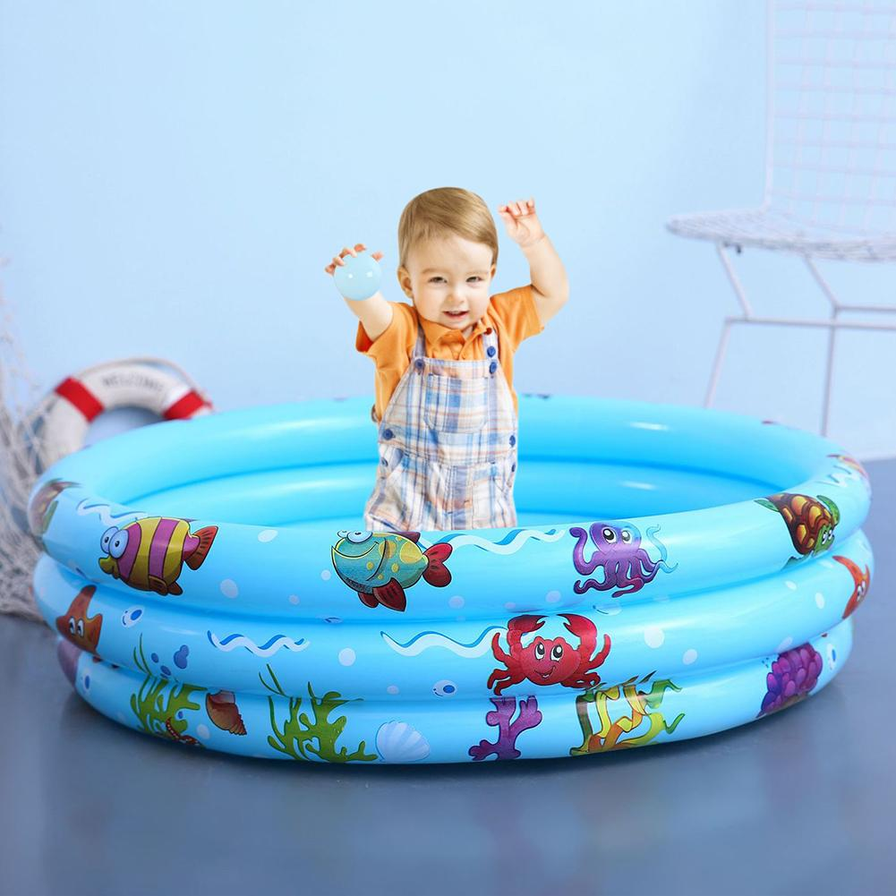 Inflatable Baby Swimming Pool, Child Summer Kid Water Toys, Inflatable Bath Tub Round Lovely Animal Printed Bottom
