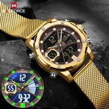 NAVIFORCE Mens Sport Watches Luxury Gold Quartz Steel Strap Waterproof Military Digital Wrist Watch Clock Relogio Masculino 2020