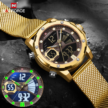 NAVIFORCE męskie sportowe zegarki luksusowe złoty kwarc stalowy pasek wodoodporny wojskowy cyfrowy nadgarstek zegarek zegar Relogio Masculino 2021 tanie i dobre opinie 25cm QUARTZ Podwójne wyświetlanie NONE 3Bar Klamra z haczykiem CN (pochodzenie) STOP 16mm Hardlex Kwarcowe zegarki Papier