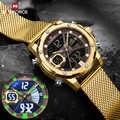 NAVIFORCE relojes deportivos para hombre reloj de pulsera Digital militar impermeable con correa de acero de cuarzo dorado de lujo reloj de pulsera reloj Masculino 2020