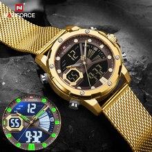 Naviforce relógios do esporte dos homens de luxo ouro quartzo aço cinta à prova dmilitary água militar relógio pulso digital relogio masculino 2020
