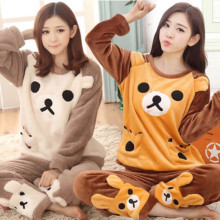 New Autumn Winter Flannel Women Pajama Sets Thick Warm Coral