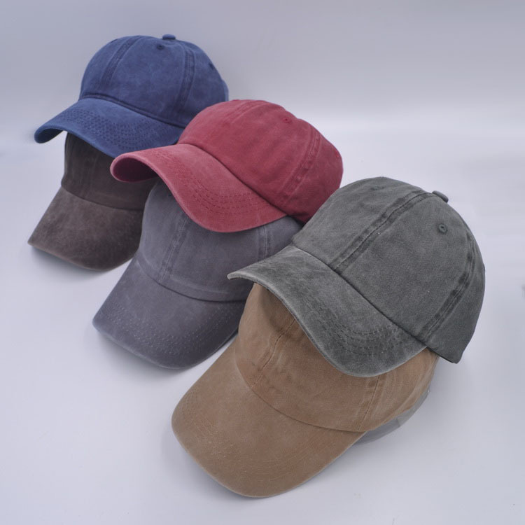 Hat girl spring and summer Korean version old curved eaves duck tongue hat smooth plate solid color baseball hat lovers wash hat