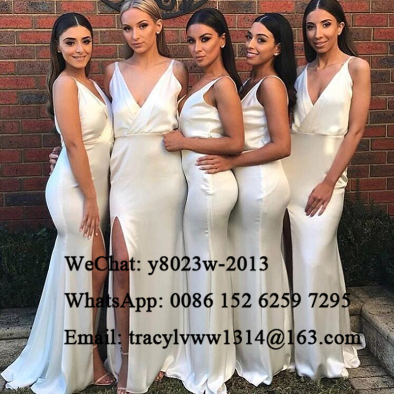 Sexy Plunging Neck Long Bridesmaid Dresses 2020 Sleeveless Side Split White Mermaid Wedding Guest Dress Party For Women