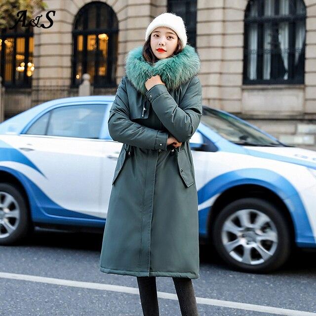 Фото женская длинная парка с капюшоном anbenser хлопковой подкладкой