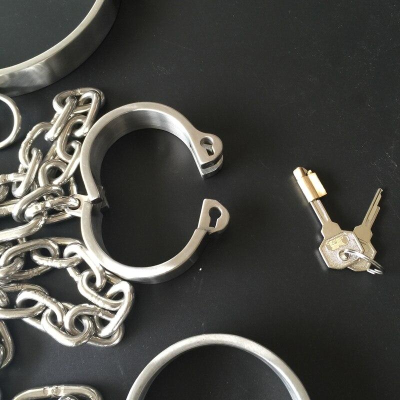 Stainless Steel Lockable Neck Collar Hand Ankle Cuffs Femdom Slave BDSM Bondage Handcuffs Leg Restraints Sex