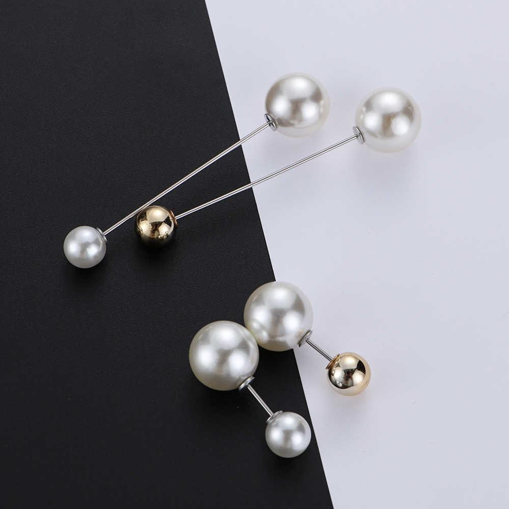 1/3 Pcs Mutiara Kristal Tali Tetap Baru Pin Sederhana Fashion Sweater Perhiasan Suit Cardigan Pesona Bros Klip rantai