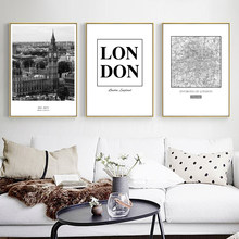 Scandinavian modern black and white landscape image, London city canvas painting, living room, room, wall decoration Figura