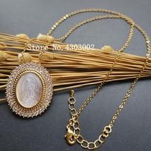 10 pçs/lote 28x33 milímetros Natural AAA CZ Virgem de Guadalupe Mãe shell colar de Pérolas para as mulheres & Gift