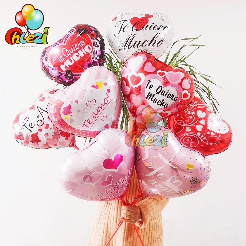 8 pièces 18 pouces Te Amo feuille ballons espagnol amour thème coeur hélium Globos anniversaire mariage saint valentin fête décoration douche