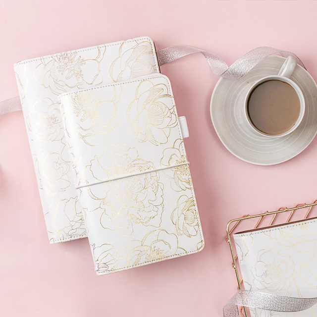 Foil Golden Floral Notebook and journals Daily book A5A6 Planner travelers notebook stationery store school supplies
