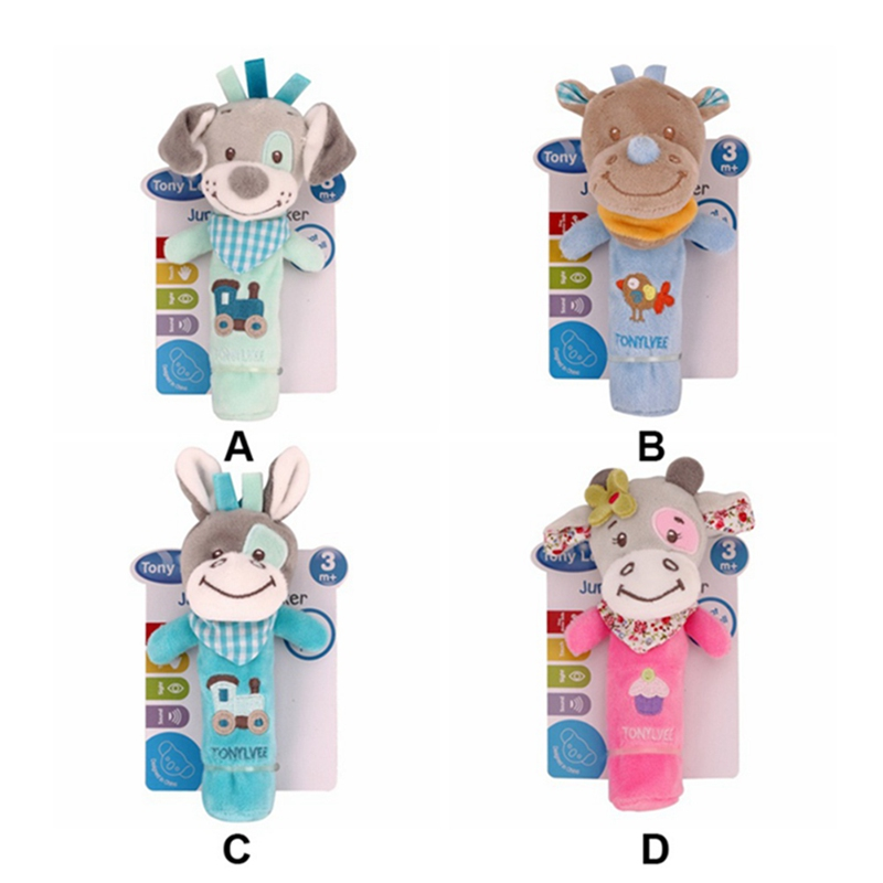 1pc Newborn Baby Toys Cartoon Animal Dog Baby Boy Girl Rattles Hand Bell Infant Toddler Plush Toys Jouet Enfant Best Gift