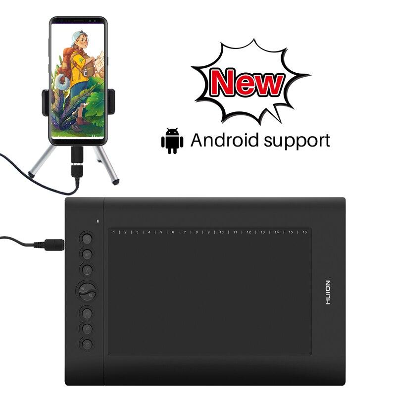 HUION H610 Pro V2 10X6. 25in tablette de dessin graphique stylo numérique tablettes de peinture avec fonction d'inclinaison touches sans pâte et Express