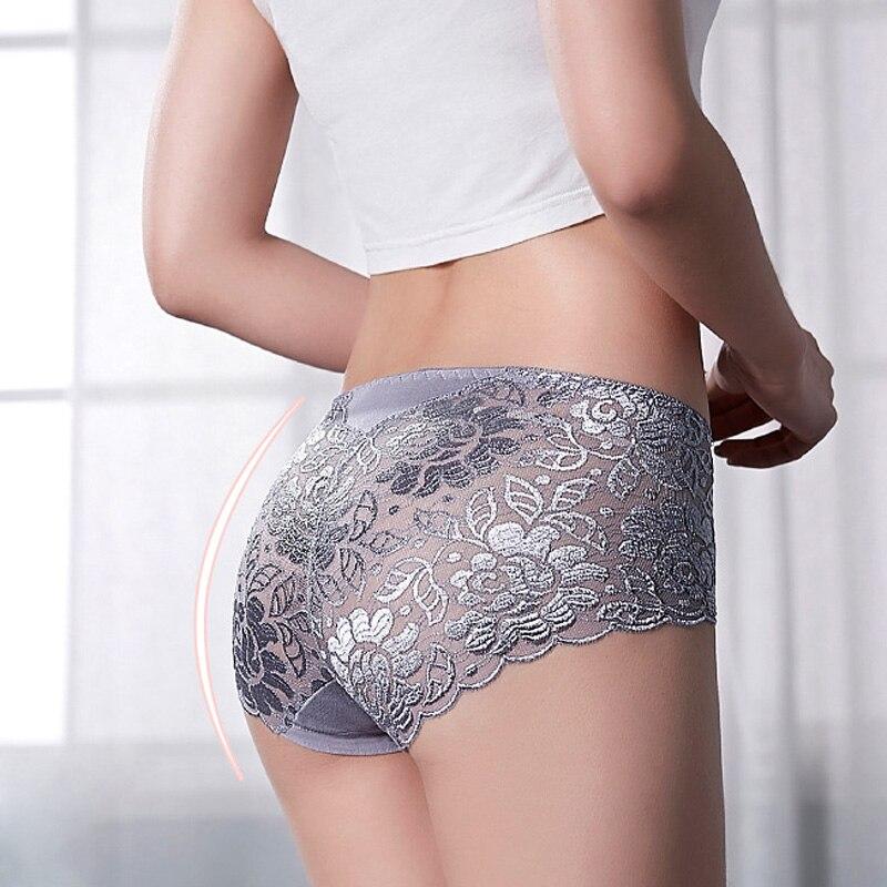 Women's Panties 3XL Plus Size Underwear Sexy Lace Transparent Hollow Female Briefs Hip Lift Underpants For Lady Lingerie NK102