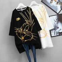 Grande Taille Lâche Brossé Moitié-manche chemise Pour femmes Automne Bronzage Dessin Animé Lapin Épaissie T-shirt À manches courtes