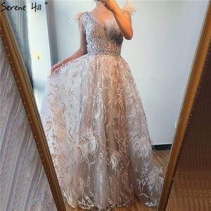 Image 4 - Dubai Champagne V Neck Sexy Evening Dresses 2020 Feathers Crystal Sleeveless Evening Gowns 2020 Serene Hill LA70260