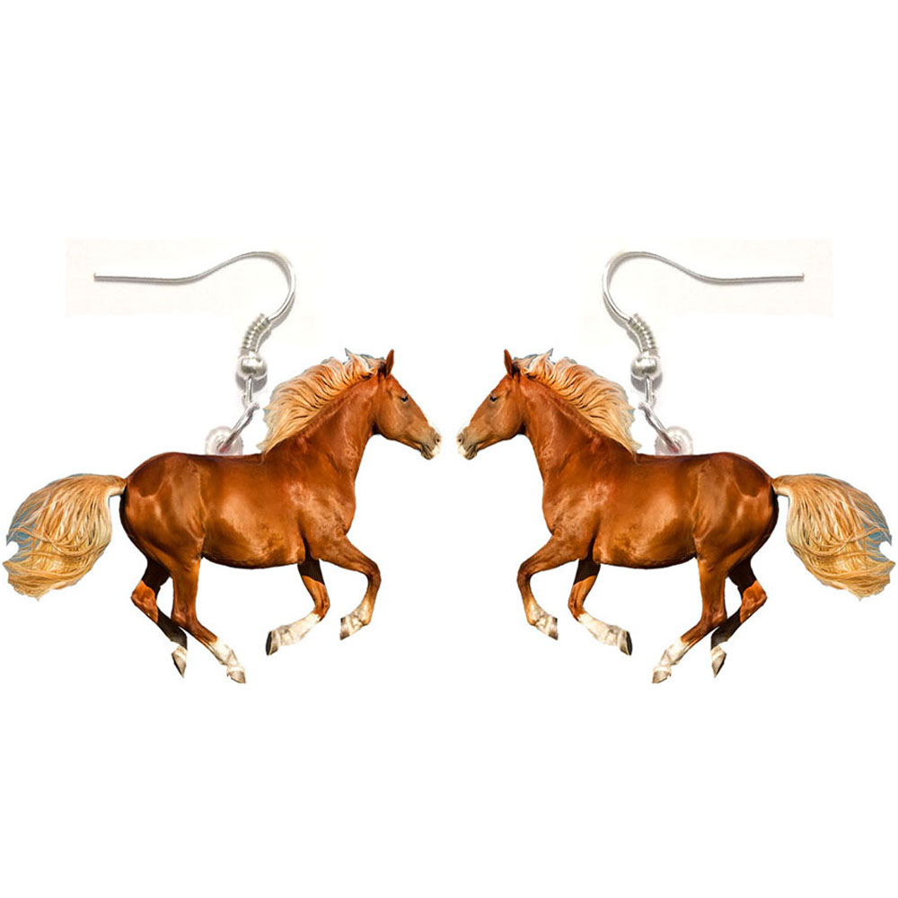 1 Pair Horse Acrylic Earrings Stainless Steel Earring We Love World Animal Jewelry Women Gift Girl Fashion Men Charm Earrings