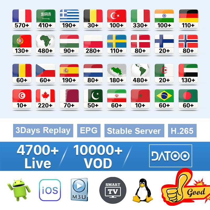 IPTV France 1 Year Subscription Arabic Swedish Portugal Belgium IPTV Spain Germany Italy Code for M3u Android pk QHDTV IP TV-in Set-top Boxes from Consumer Electronics
