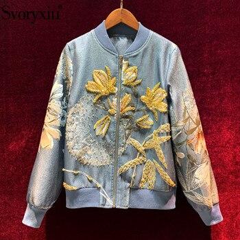 Женская короткая куртка Svoryxiu, роскошная жаккардовая куртка с кристаллами, расшитая бисером, на осень и зиму