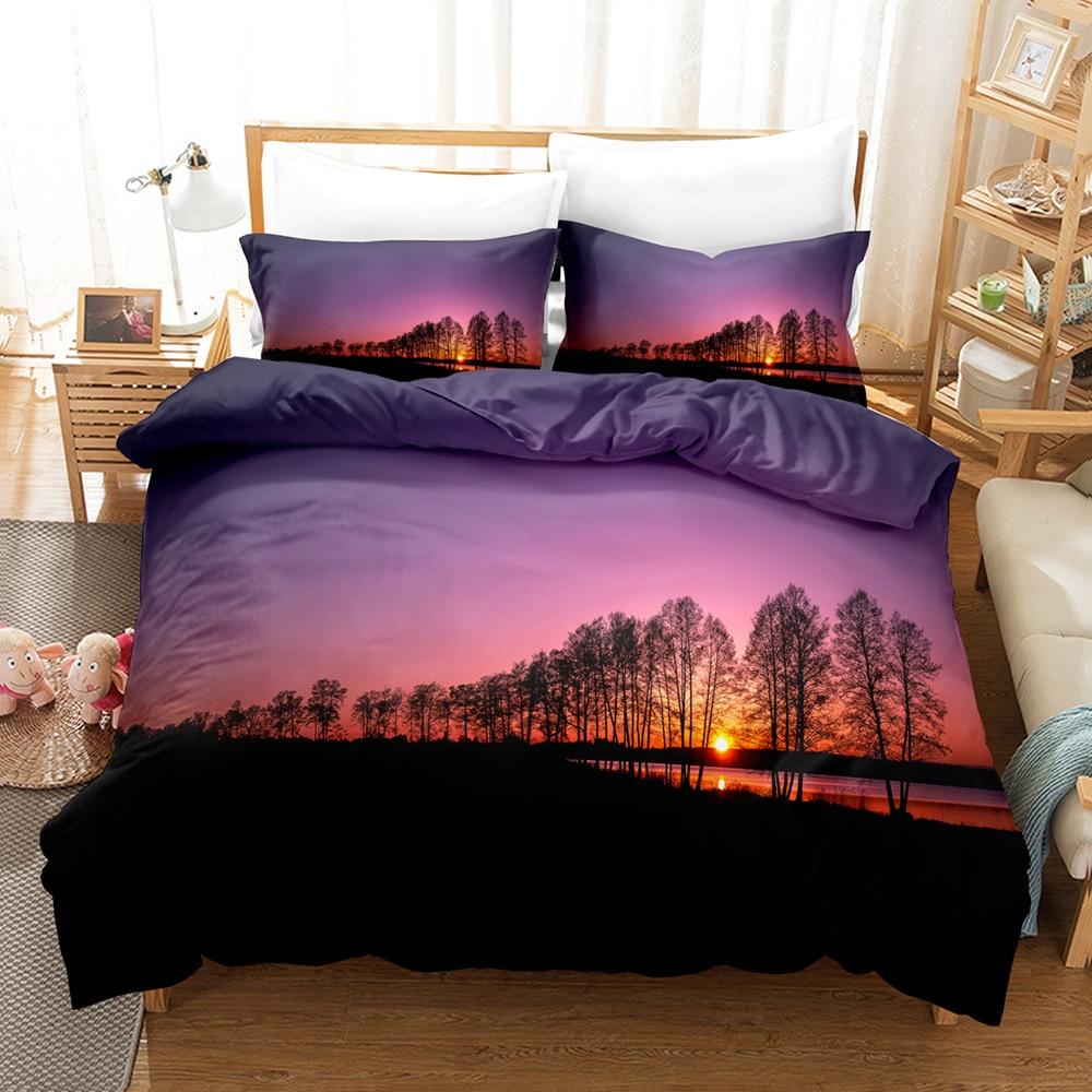 Purple Sunset Bedding Set Tropical Beach Holiday Duvet Cover Set Girl Bed Cover Set Sunrise Quilt Cover Pillowcase Single Double