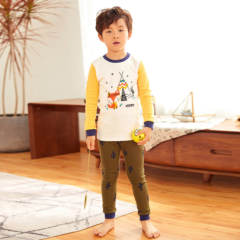 2018 New Style CHILDREN'S Underwear Suit Pure Cotton BOY'S Girls Cotton Jersey Autumn And Winter Pajamas Thermal Underwear Track