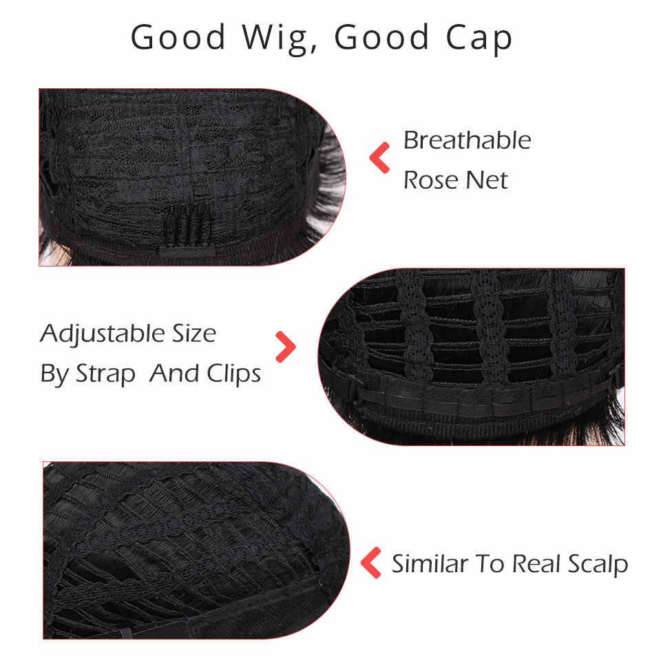 Doris belleza sintético negro corto peluca recto pelucas para mujeres marrón pelo Natural resistente al calor pelucas con flequillo