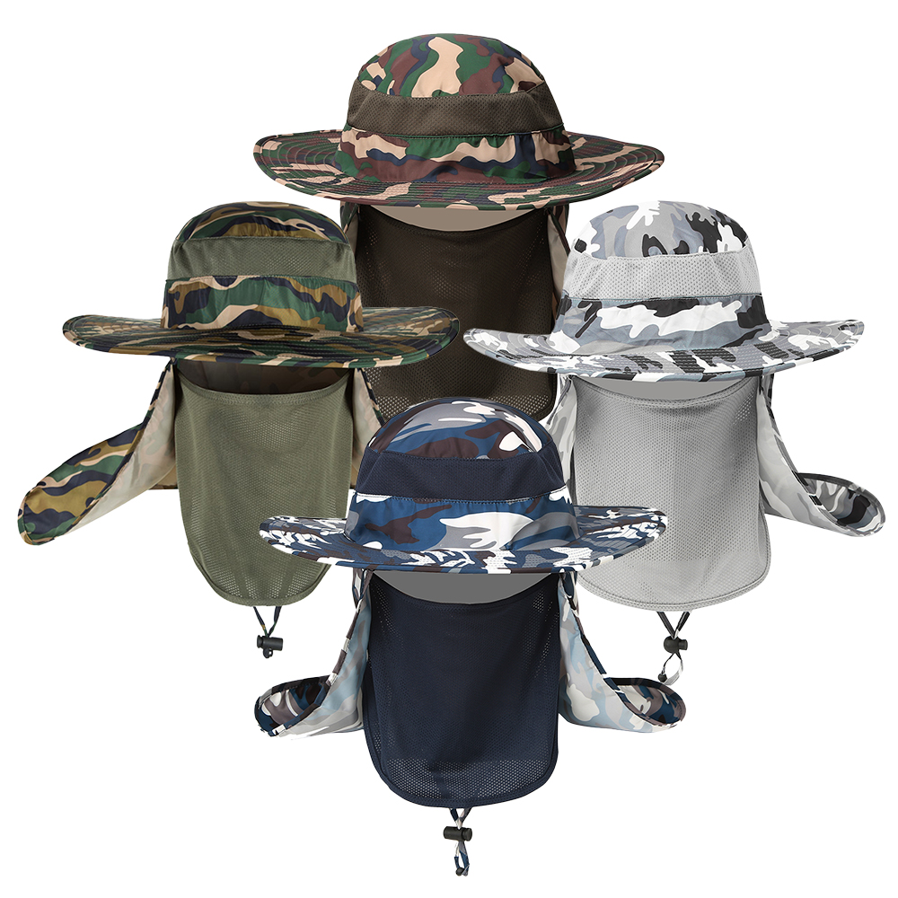 Fishing Hat for Men,Outdoor Sun Cap for Men Breathable Wide Brim Sun Hat Boonie Hat UV Protection with Removable Face