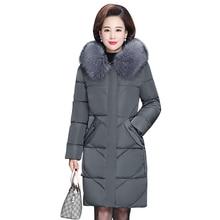 Inverno Parka 2019 inverno caldo cappotti con cappuccio collo di pelliccia di spessore lungo tratto di mezza età madre di inverno giacche da neve Parka femminile