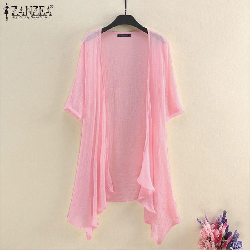 2021 ZANZEA Summer Cardigan Kimono Women Blouse Casual Solid Shirt Female Beach Cover Up Tops Tunic Open Front 3/4 Sleeve Blusas