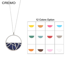 Cremo Necklaces & Pendants Stainless Steel Women Charm Necklace Interchangeable Reversible Leather Hollow Pendant Chain