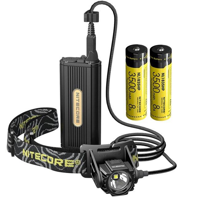 2020 Topsale Nitecore HC70 1000 lümen USB şarj edilebilir kafa lambası + 2x18650 harici pil paketi su geçirmez yüksek kafa lambaları