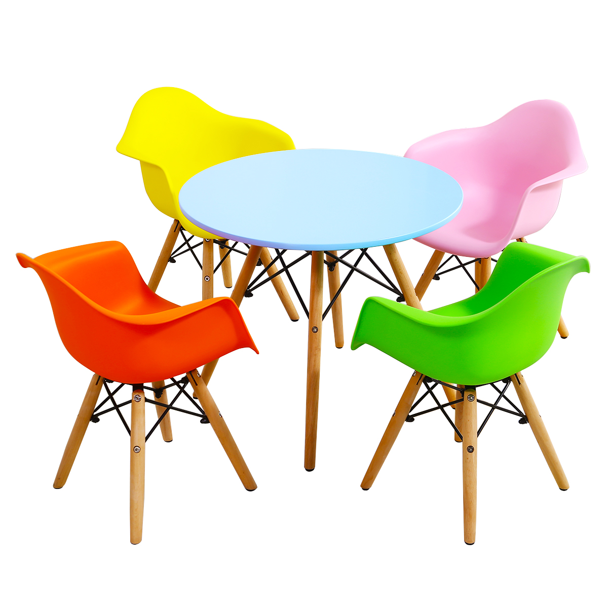 Children Table & 4Chairs Set 5 Pieces Dining Learning Table W/4 Chairs Color