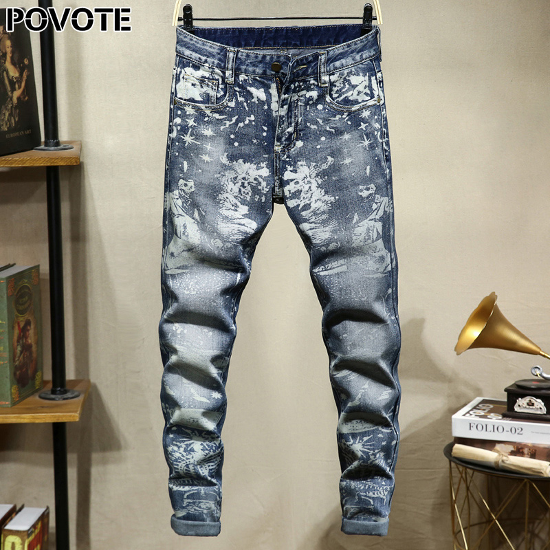POVOTE Brand Jeans Retro Nostalgic Straight Pants Skull Pattern Men's Jeans Pants Motorcycle Jeans Trend Design