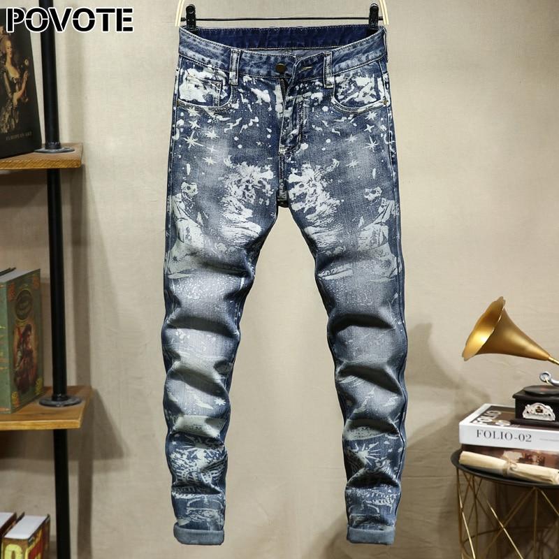 POVOTE Brand Jeans Retro Nostalgic Straight Pants Skull Pattern Men's Jeans Pants Motorcycle Jeans Trend Design