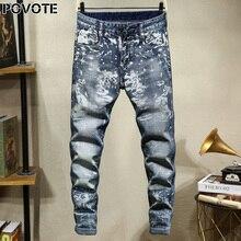 POVOTE джинсы бренд ретро ностальгический прямые брюки череп мотоцикл шаблон дизайна мужской тенденция