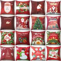 Funda de cojín de Navidad de muñeco de nieve de Papá Noel rojo almohada decorativa de poliéster Año Nuevo cojines para decoración del hogar decorativos para sofá 40543