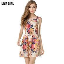 Summer Print Beach Casual Women Loose Sleeveless Tank Top Floral Print Short Sleeveless Chiffon Dress Skirt Clothes Plus Size plus cold shoulder floral print flowy top