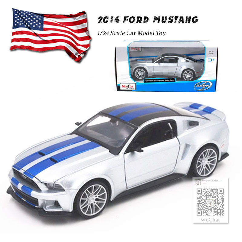 MAISTO 1/24 Scale Car Model Toys USA 2014 Ford Mustang Street Racer Diecast Metal Car Model Toy For Collection,Gift,Kids