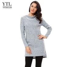 YTL ผู้หญิง Turn Down คอฤดูใบไม้ร่วงฤดูหนาวแขนยาวลำลองเสื้อ Tops เสื้อสูงต่ำ Dressy TOP เสื้อยืดหญิง H315