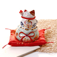 6 inch ceramic lucky cat home decoration accessories business gift collection piggy bank opening Feng Shui gift good luck home