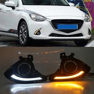 Image 5 - 1 סט DRL למאזדה 2 Mazda2 Demio 2015 2016 2017 LED DRL בשעות היום ריצת אורות ערפל אור כיסוי צהוב אות