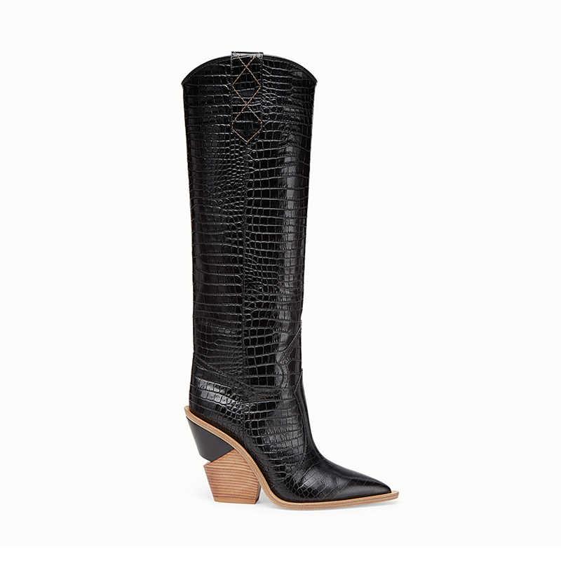 2019 Nieuwe merk microfiber leer vrouwen knie hoge laarzen sexy puntschoen western cowboy laarzen vrouwen mid-kalf chunky wig laarzen