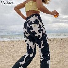 Nibber بنطال رياضي نسائي فضفاض بألوان متباينة للشارع سروال رياضي للخريف بطباعة مواكبة للموضة سروال نسائي بتصميم عالي الخصر