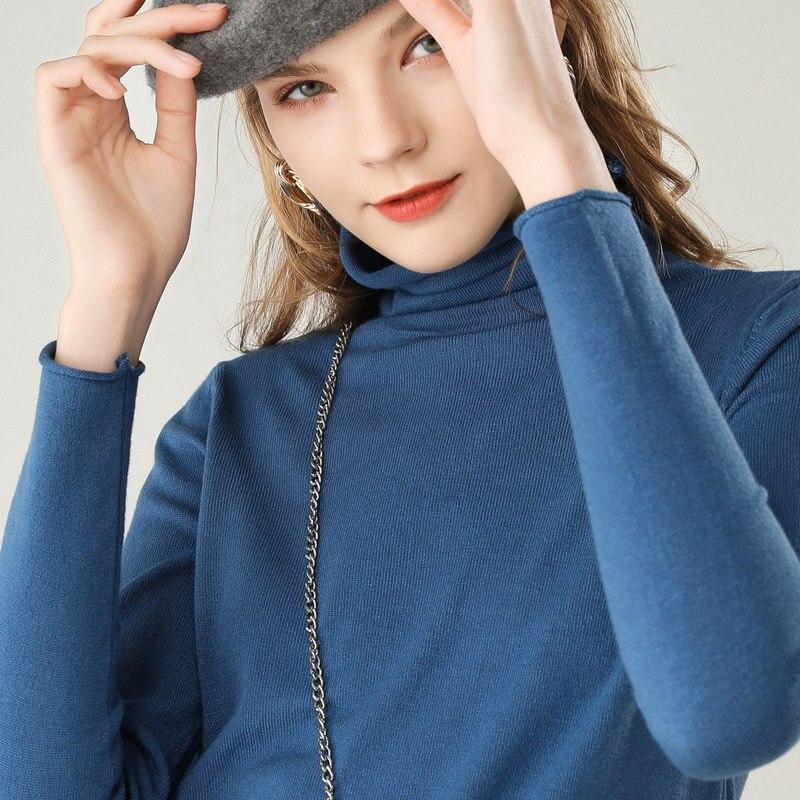 2019 new women's sweater high collar cashmere sweater women's knit pullover women's winter sweater
